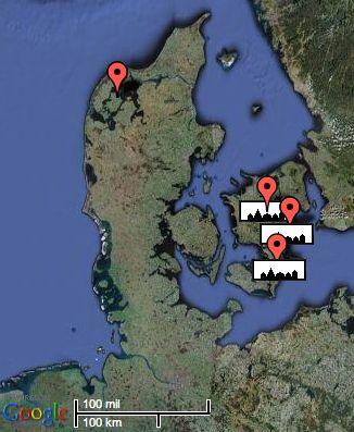 Oversigtskort over by- stednavne på Sjælland